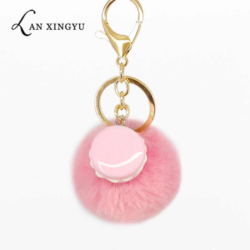 Macaron Fur Pompom Keychain Plush Ball Key Chains Bag Decorative Pendants Charms Car Key Ring Accessories Fashion Jewelry Gifts