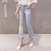 2019 Spring And Autumn New Style Elasticity Slim Fit Slimming Stereo Embroidery Capri Wide Leg Jeans Women's High waisted Micro