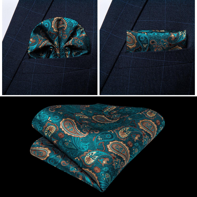 New teal green paisley 100% silk formal dress vest men waistcoat vest wedding party vest tie brooch pocket square set dibangu 5