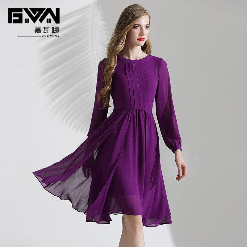 2019 nouvelle robe d'automne femme de haute qualité à manches longues violet mousseline de soie a-ligne élégante robes formelles