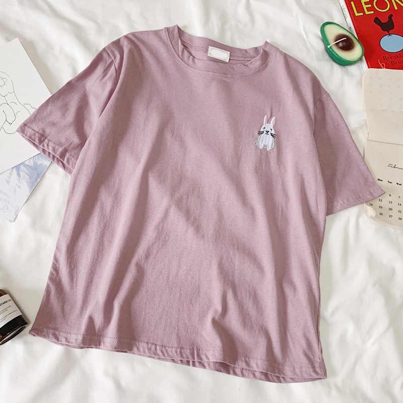2019 夏原宿アニメ刺繍 100% 綿の女性の Tシャツ美的親友動物トップ Tシャツフォロー新到着