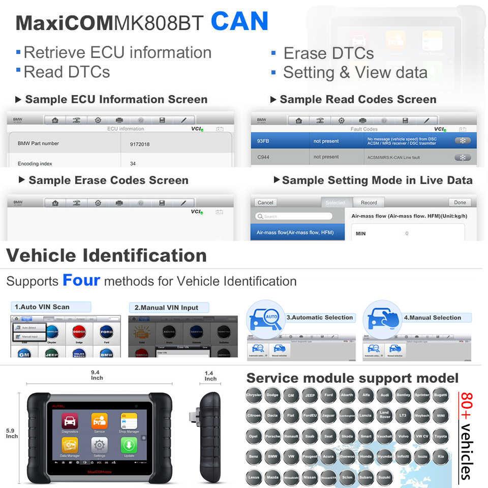 Autel MaxiCOM MK808BT OBD2 Scanner Auto Diagnostic Tool Volledige Systeem Diagnose IMMO/EPB/SAS/BMS/TPMS /DPF Verbeterde Versie van MK808