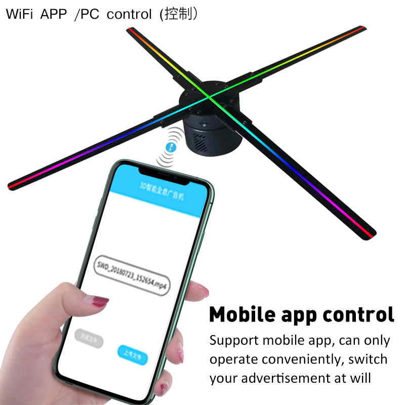 Wifi 3D Hologram Projector Fan ControlHolographic Display 1615LEDs Party Decorations Holograms Led 56CM Wifi/PC Control
