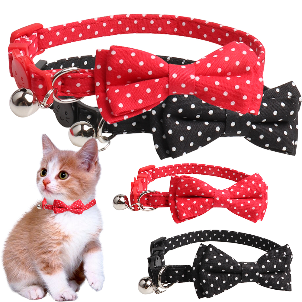 Cat Collar Necklace Dot Printed Bow Bell Lovely Pet Products Dog accessories Puppy kitty collar  D40
