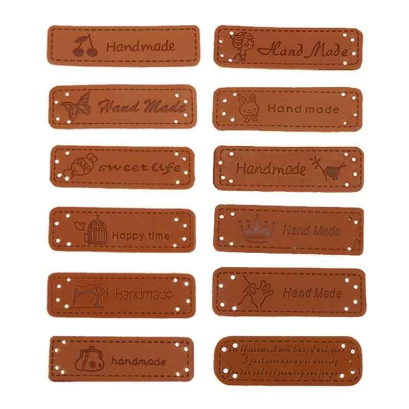 12pcs Nuovo Cuoio DELL'UNITÀ di elaborazione Tag Sui Vestiti Etichette per indumenti Per I Jeans Borse Scarpe Cucire Vestiti di Patch di Pasta Per Cucire Manuale