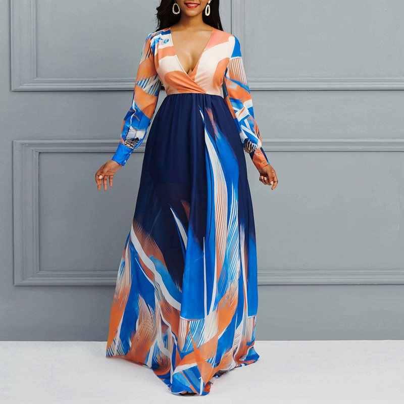 Boho v-образным вырезом с длинным рукавом печатных Макси платье в стиле бохо отпуска удобное шифоновое платье в африканском стиле повседневное элегантное платье