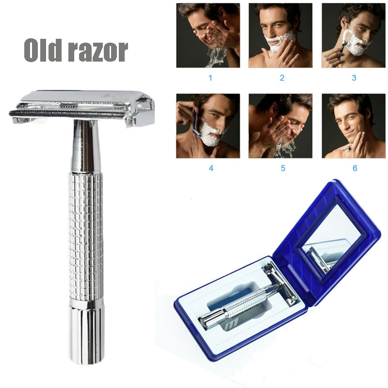 Classic Stain Steel Razor Blade Double Edge Blade Safety Shaving Shaver Handle Holder Blade With Mirror Case Holder Manual Razor