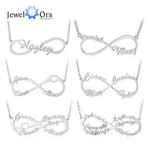 JewelOra 925 Sterling Silver Personalized Infinity Name Necklaces for Women Custom Made Nameplate BFF Pendant Gifts for Mother