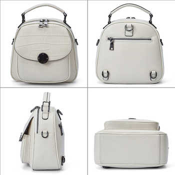 QIWANG Black Leather Backpack Female Fashion Shoulder Bag Luxury Youth Backpacks Purse Women Travel Bag Small Backpack for Girl