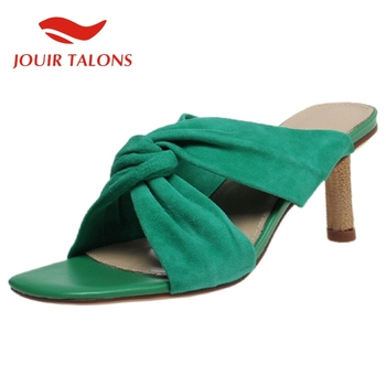 JOUIR TALONS 2020 Hot Sale Genuine Leather Women Mules Sandals Thin Heels Pleated Shoes Summer Casual Woman Shoes
