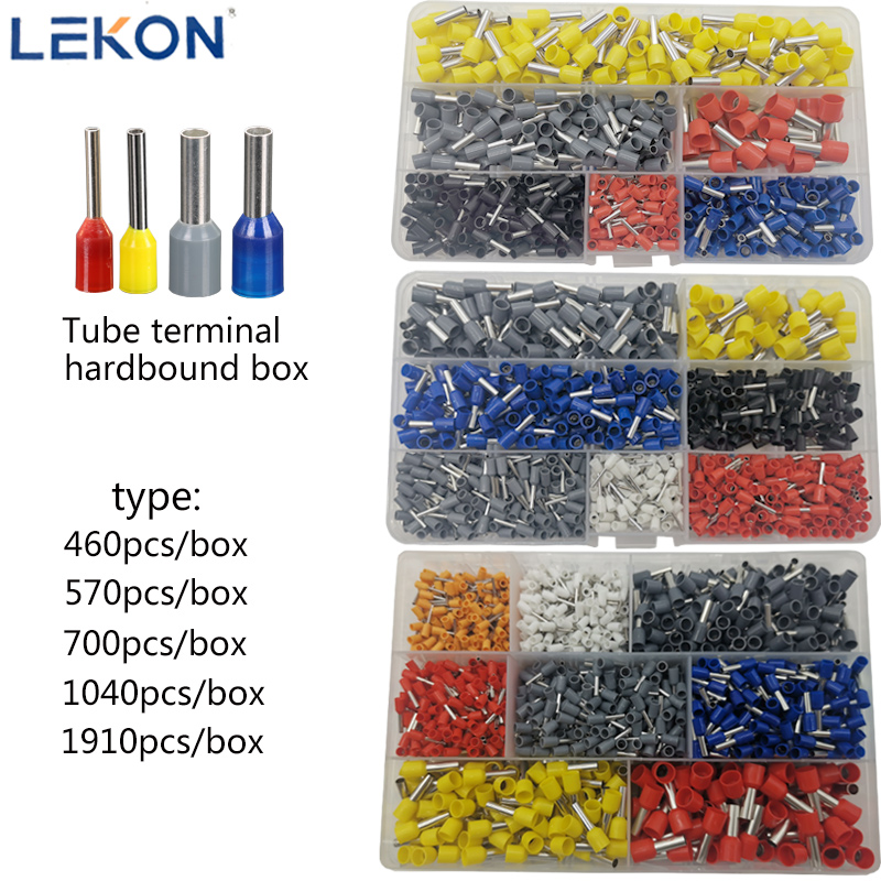 Box-packed Tubular Terminal Various Styles Electrical Wiring Connector Crimping Insulated Tube Terminals Set Suit