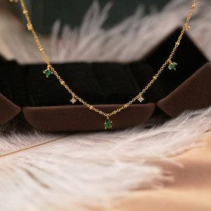 Image 4 - Silvology 925 Sterling Silver 4A Green Zircon Choker Necklace for Women Chic Elegant Mori Style Luxury Necklace Festival Jewelry