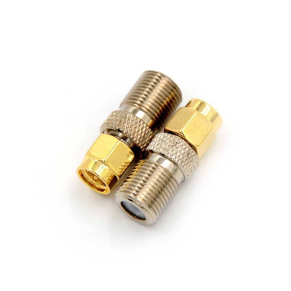 1 Pcs F Type Female Jack To SMA Male Plug Straight RF Coaxial Adapter F Connector To SMA Convertor Gold Tone Wholesale