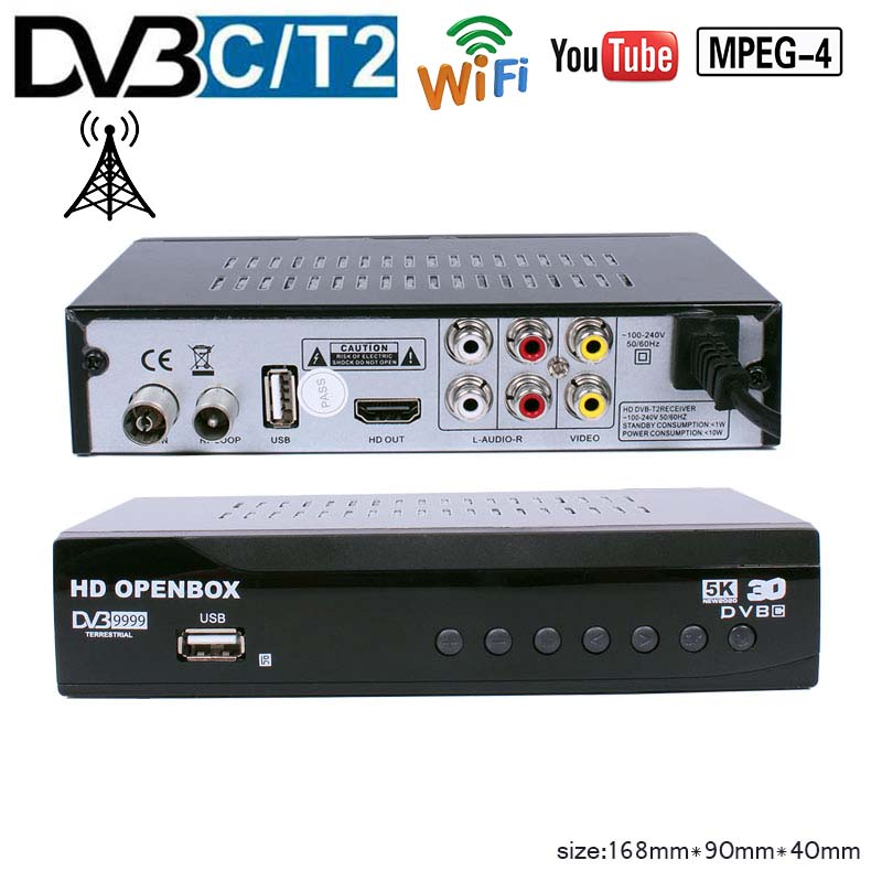 HD MPEG4 DVB T2  TV Receive H.264 Support WIFI Youtube Full HD Terrestrial TV Receiver TV BOX