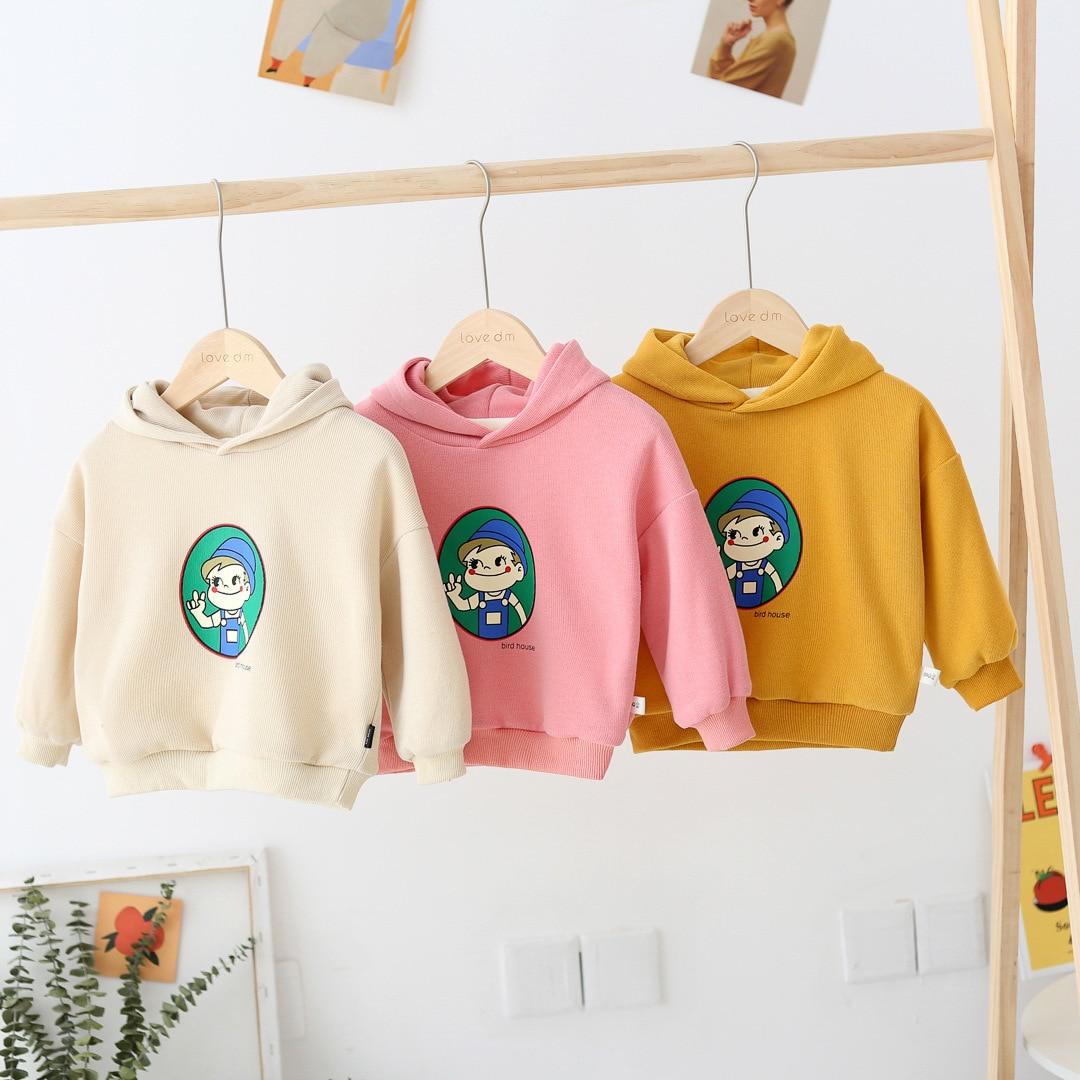 WLG/зимние толстовки с капюшоном для девочек; детская толстовка из плотного бархата с мультипликационным принтом; цвет бежевый, розовый