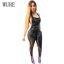 WUHE Sexy Backless New Novelty Women PU Leather Jumpsuits Elegant Sleeveless Hollow Out Halter Long Bodycon Bandage Playsuits