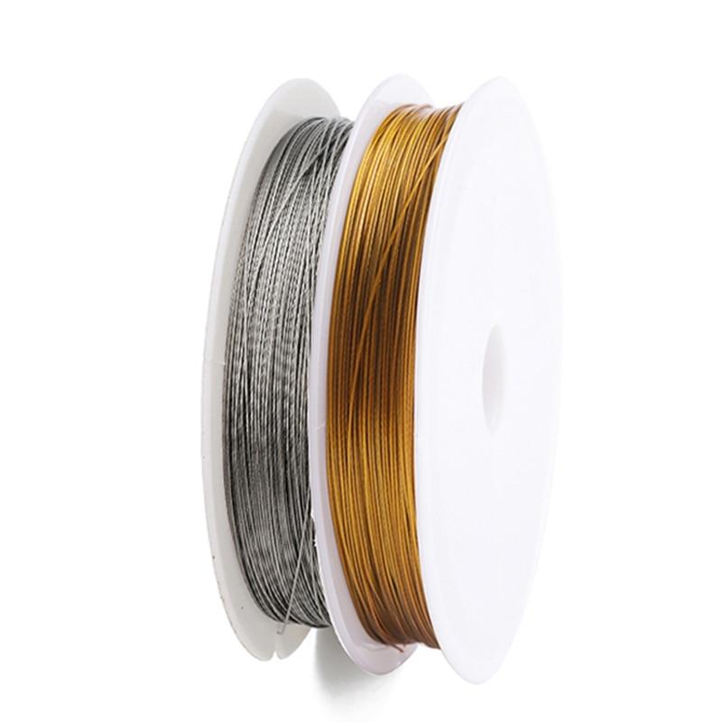 Yeni altın renk paslanmaz çelik tel boncuk halat kordon balıkçılık ipliği DIY için dize kolye bilezik takı yapımı bulguları