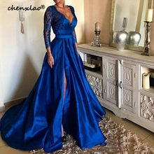 2019 Royal Blue Plus Size Prom Dresses Sexy V Neck Lace Appliques Long Sleeve Front Split Formal Evening Dresses Party Gowns(China)