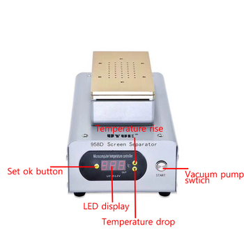 UYUE 958D High Power Built-in Two Pumps 7 Inch Vacuum LCD Separator Machine for iPhone Samsung Smart Phone LCD 40--250 degrees