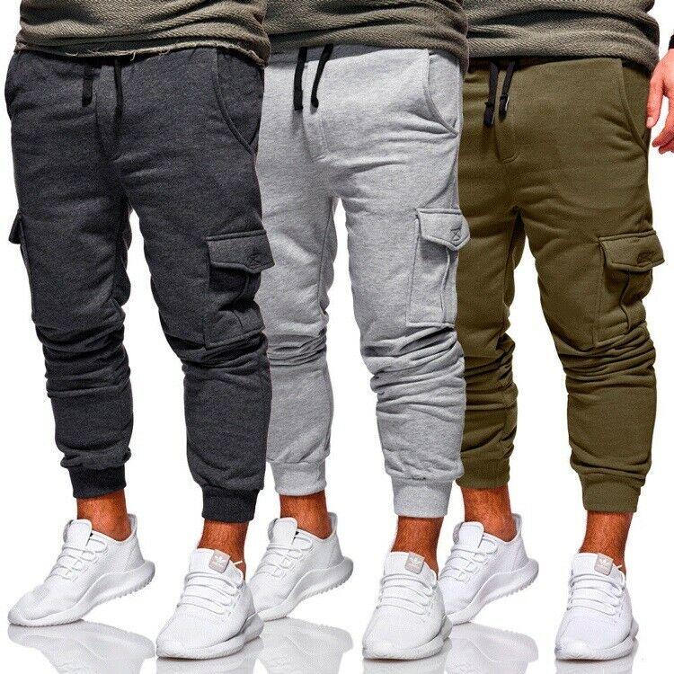 Erkekler rahat eşofman gevşek spor Fit koşu Joggers ter kargo pantolon pantolon artı boyutu M-3XL