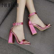 New Arrival Peep Toe Plus Size 35-42 Belt Buckle Womens Sandals Thick Heel High Heels Ladies Casual 2019 Shoes