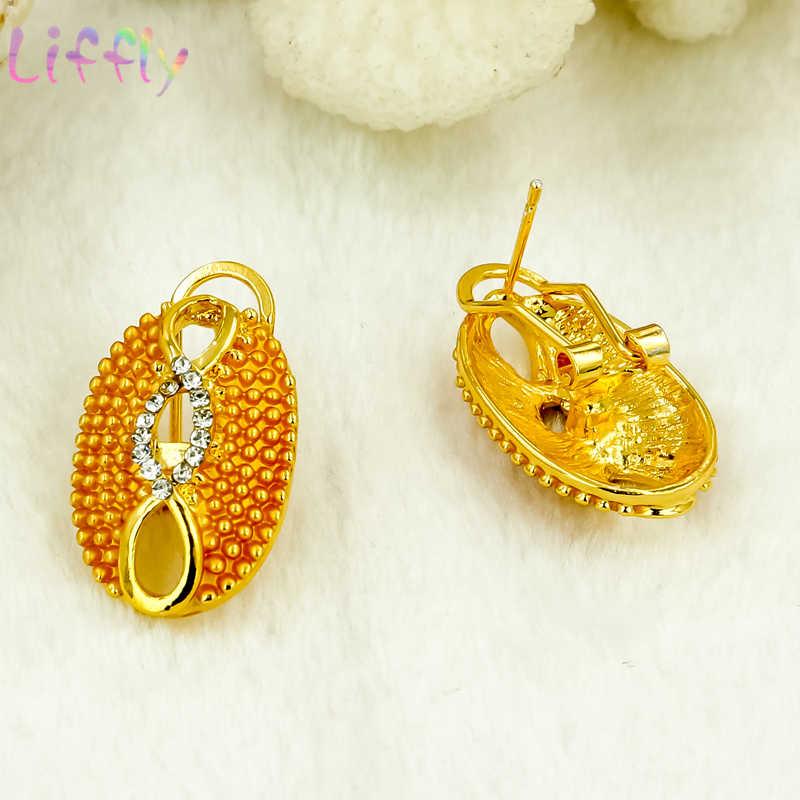 Afrikanischen Schmuck Sets frauen Mode Doppel Farbe Kollision Kristall Halskette Ohrringe Ring Armband Hochzeit Engagement Schmuck