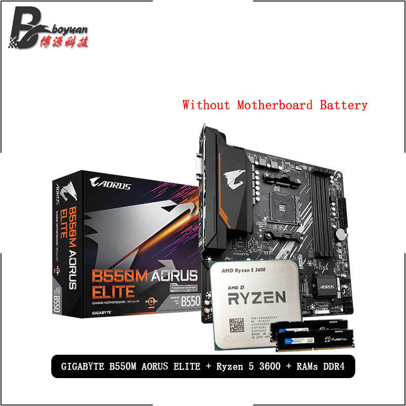 AMD Ryzen 5 R5 3600 CPU + GA B550M AORUS ELITE Motherboard + Pumeitou DDR4 8G 16G 2666MHz RAMs Suit Socket AM4 Without cooler
