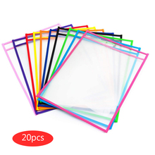 HOT 20pcs Reusable Dry Erase Pockets Worksheet Sleeves Shop Ticket Holder Assorted Colors 10x14 inch For Teaching Supplies Kids
