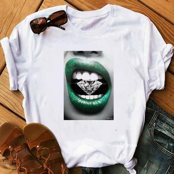 Camiseta para mujer, ropa veraniega de diseño rojo con labios frescos, estilo básico, ropa de manga corta con cuello redondo para verano 2020