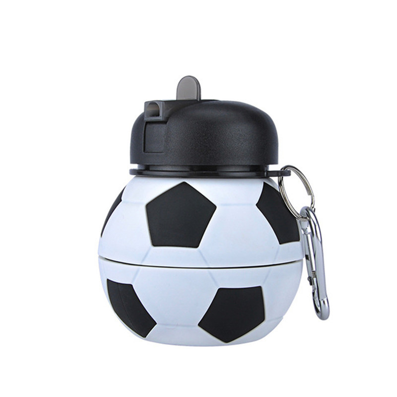 550ml Football Collapsible Sports Water Bottle With Straw Silicone Foldable Soccer Ball Cup For Travel Outdoor Camping Bicycling