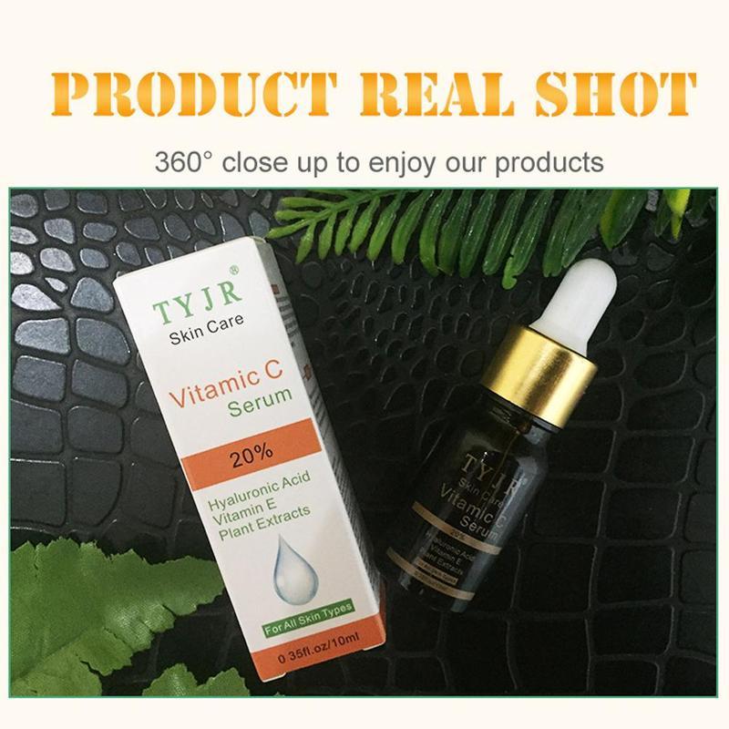 Vitamin C 100% Pure Serum Liquid Freckle Removal Acne Scar Hyaluronic Acid Anti-wrinkle Vc Face Serum Oil Fade Dark Spot Essence