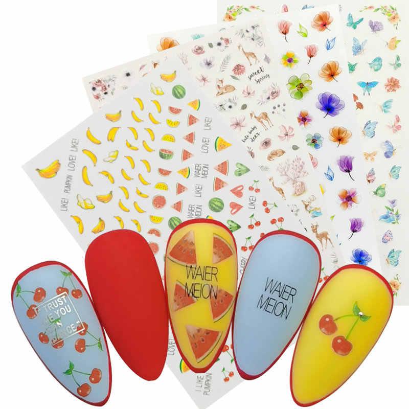 1 Vel 3D Nail Stickers Zelfklevende Stickers Bloemen Leaf Geometry Fruit Dessert Ontwerpen Sliders Tattoo Manicure Decoraties