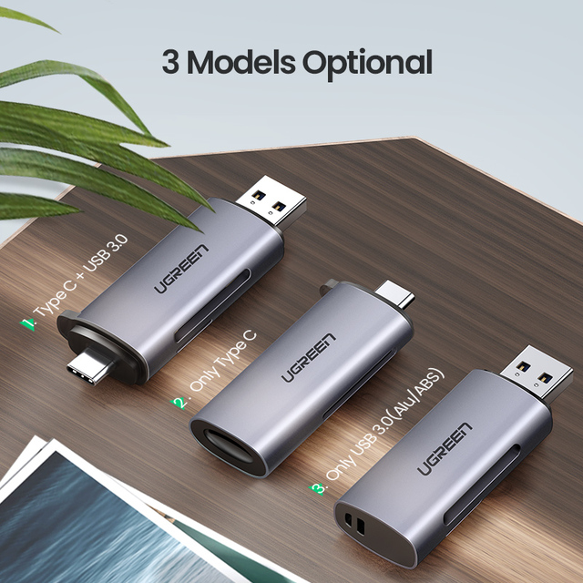 Ugreen Card Reader USB 3.0 Type C to SD Micro SD TF Adapter for laptop Accessories OTG Cardreader Smart Memory SD Card Reader 5