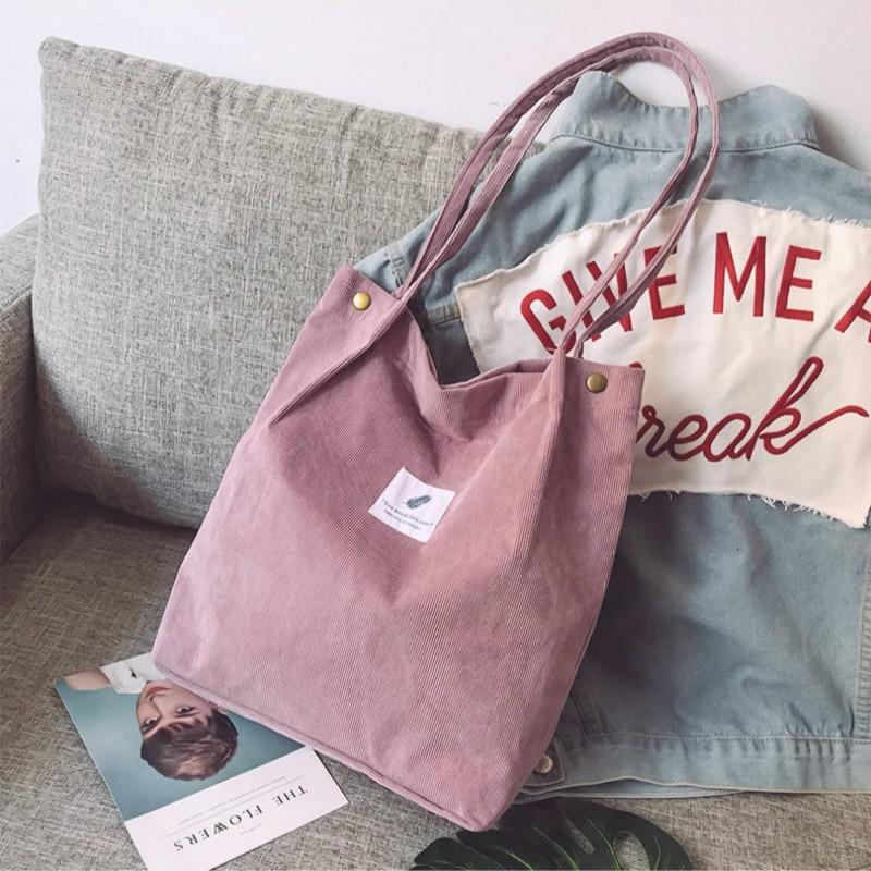 Women Corduroy Shopping Bag Female Canvas Cloth Shoulder Bag Environmental Storage Handbag Reusable Foldable Eco Grocery Totes 4