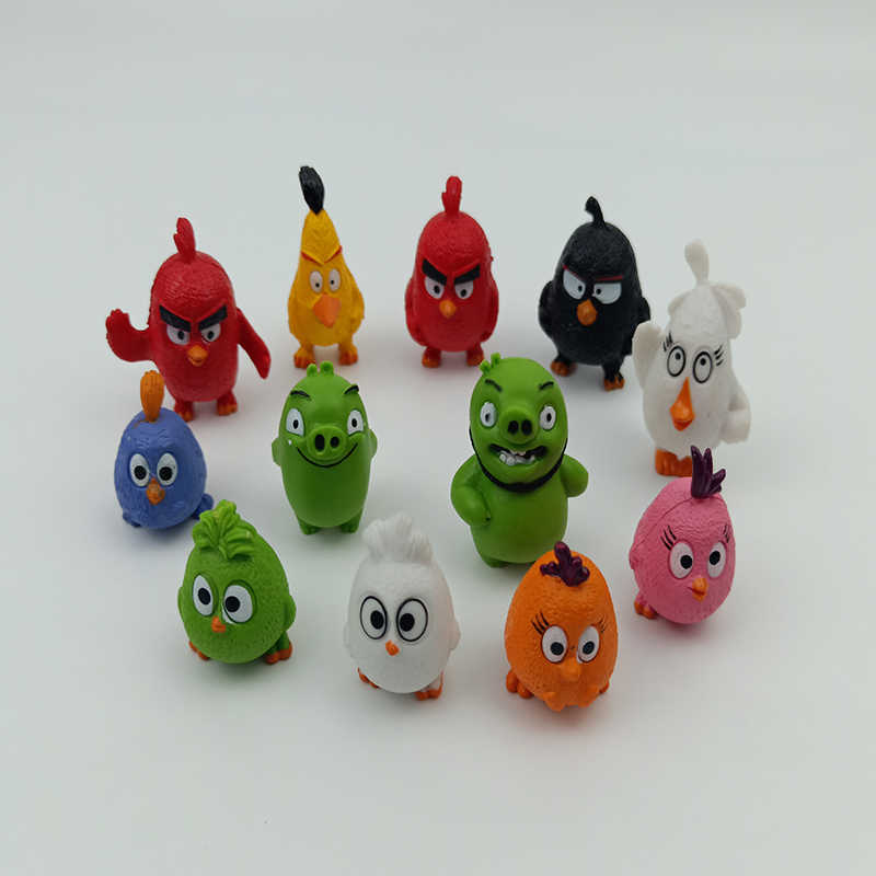 12 Pcs Angry Bird anime figure Red The Blues Chuck Bomb Matilda Birds figurines mini model Action Toy Figures