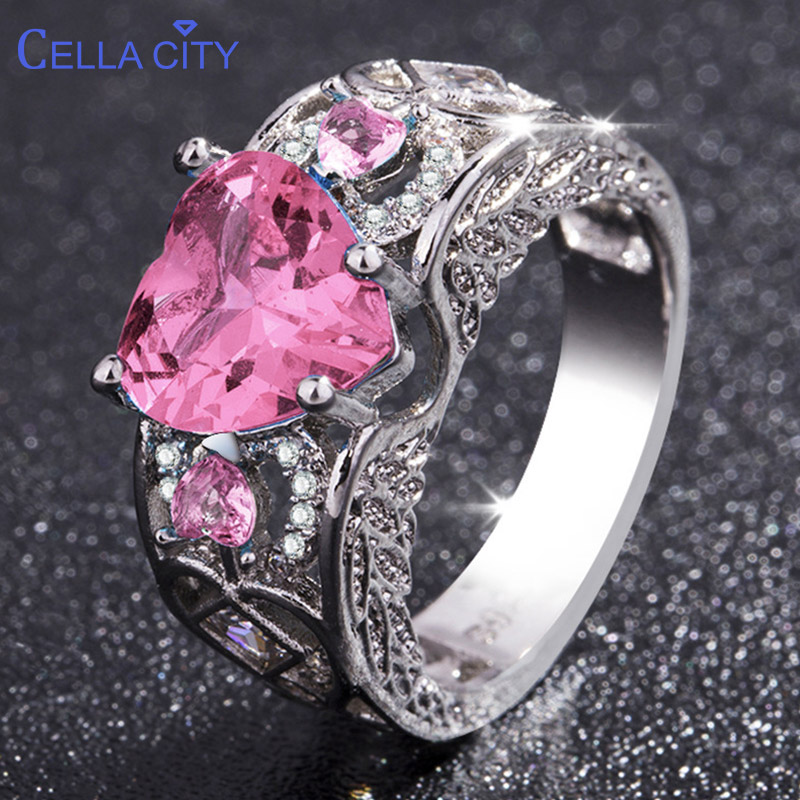 Cellacity Temperament Heart Shaped Gemstone Rings For Women 11 Different Styles Silver 925 Jewelry Powder Crystal Ruby Zircon
