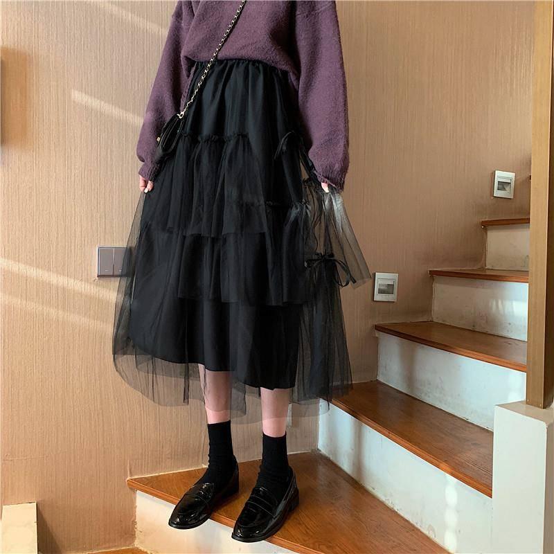 Retro Hohe Taille Partei Tutu Rock Kawaii Unregelmäßigen Puffy Tüll Lange Schwarz Rock Koreanischen Stil Frauen Midi Mesh Rock Süße göttin