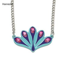 Hanreshe Crystal Ladybug Necklace Exquisite Cute Kids Trendy Jewelry Blue Enamel Pretty Pendant Long Chain Necklaces Girls Gift