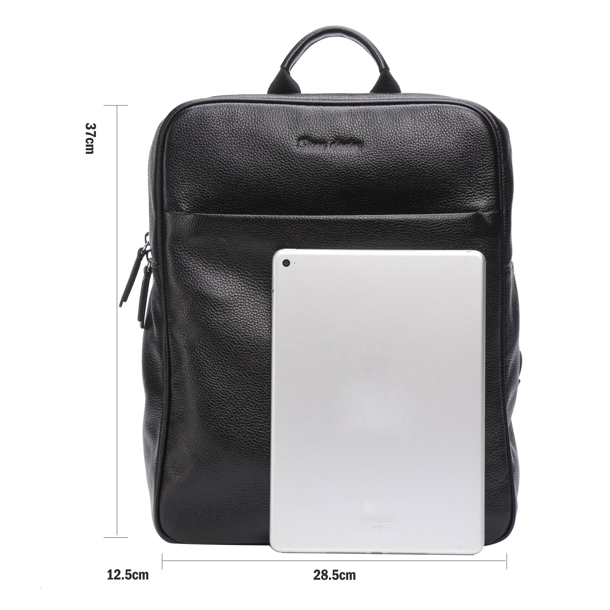 BISON DENIM en cuir véritable sac à dos hommes grande capacité sac de voyage 14 ordinateur portable sac d'école pour adolescent loisirs sac à dos N2659 - 2