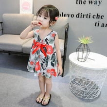 Toddler Baby Kids Girls Dresses Sleeveless Floral Leaf Print Bow Dresses Casual Clothes Children Dresses Girls Baby Clothing cheap ISHOWTIENDA Polyester Knee-Length O-neck REGULAR Fits true to size take your normal size PATTERN X217896451 geometric A-Line