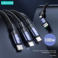 USAMS-Cable de carga rápida para iPhone, Cable de datos de aleación de aluminio, PD 6A, 3 en 1, 100W, USB C, tipo C, Lightning, para iPhone 12, 11 Pro