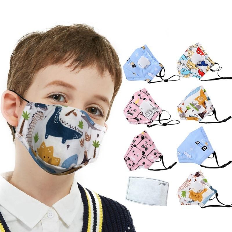 5 Pcs Pure Cotton Anti-fog PM2.5 Masks Protective Breathing Valve Masks Children Pattern Masks