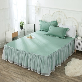 1pcs Bed Skirt Cotton Fabric Soft Material Bed Sheet Set Cyan Solid Color Bed Room Decoration Cozy Bed Skirt King Queen Size