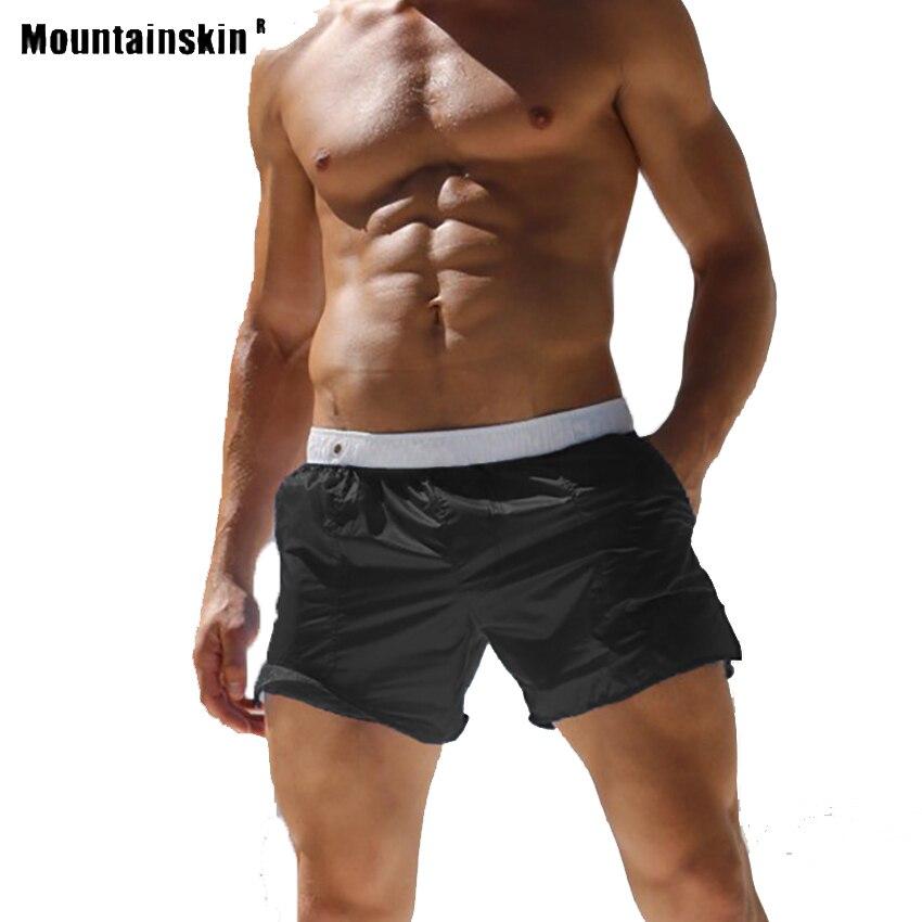 Mountainskin Summer Men's Sexy Translucent Shorts Outdoor Sports Beach Hiking Running Fitness Male Leisure Short Trousers VA748