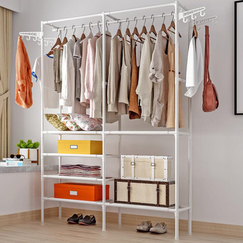RU Ship Closet System Storage Garment Rack Heavy Duty Organizer Clothes Hanger Dry Shelf