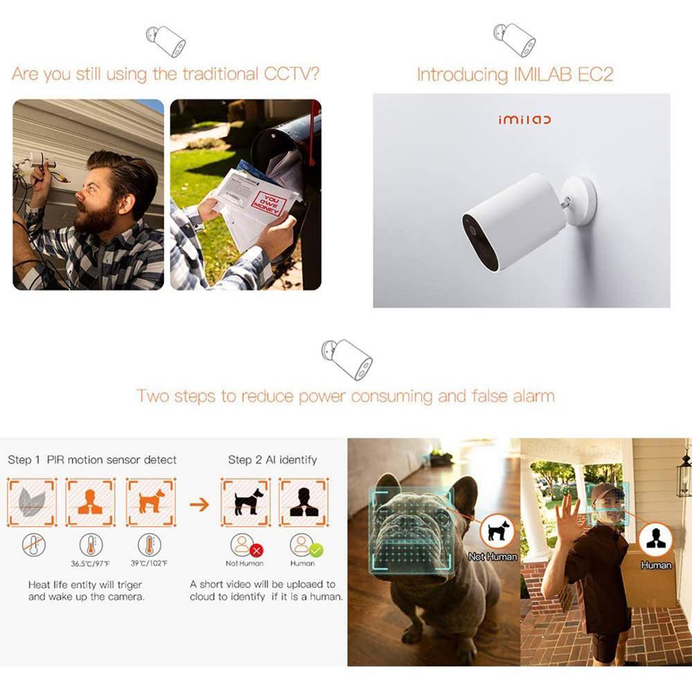 Xiaomi Smart Outdoor Camera EC2 Global Version IP66 Waterproof dustproof Wifi With Battery Remote Voice Intercom Alarm Mi Home