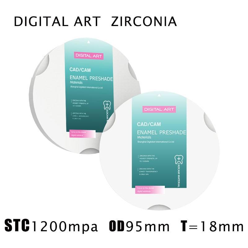 digitalart presade zirkon zahn cad cam zirconia dental em branco disco de zirconia dental stc95mm18mma1 d4