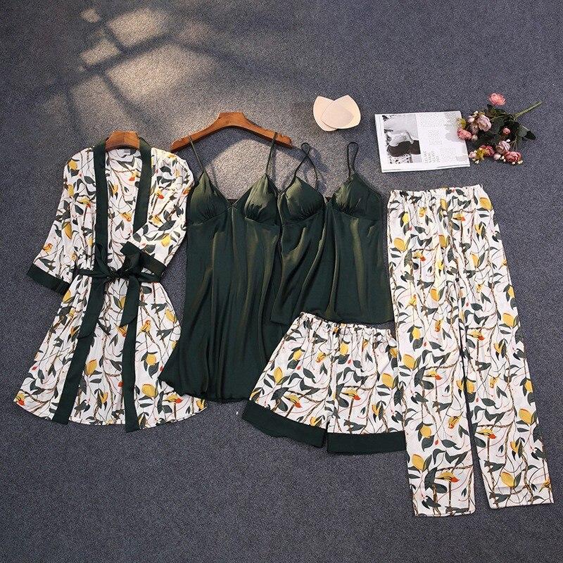 Print Pajamas Set Silky Women 5 Piece Sleepwear Satin Lace Sleep Pyjama Lounge with Belt Chest Pads Sexy Strap Home Nightwear