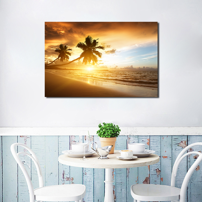 Sunsets Coconut Tree Sea Beach Wall Art Canvas Posters Prints Painting Oil Wall Pictures Living Room Home Decoration Framework