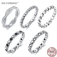 SILVERHOO-Anillo de 925 anillos de plata esterlina apilable para mujer, joyería fina de varios estilos, regalo bonito recomendado para novia